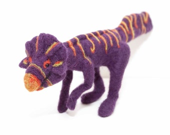 Needle Felted Extinct Koreaceratops in Purple, Red and Yellow