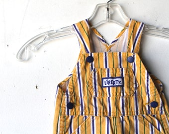 YELLOW striped overalls 18 months