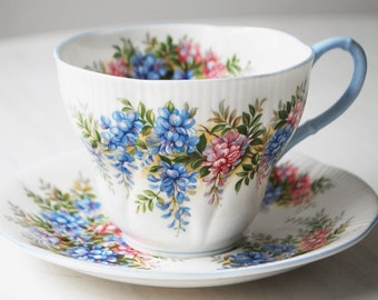 Royal Albert Wisteria Teacup and Saucer, Blossom Time Series Tea Cup by Royal Albert