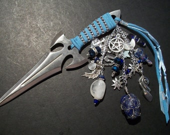 Inanna Embellished Athame - Several Blade Styles/Sizes - honor the Goddess Inanna - Lapis, Moonstone