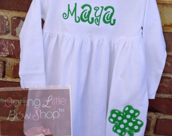 St. Paddy's Day Dress-- Almost Irish -- long sleeve white dress with name and emerald polka dot shamrock
