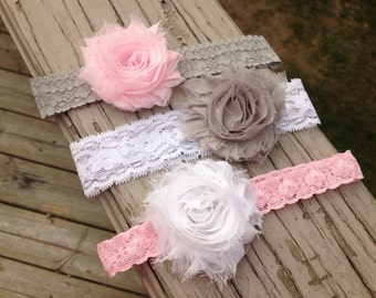 Set of 3 Elastic Lace Headbands with Flower Hair clips