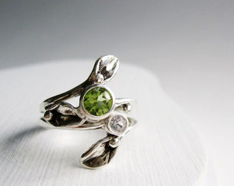 Leaf Ring, Set of 2 Rings, Silver Leaf Ring with 5mm Peridot and 3mm White Sapphire, Engagement Rings