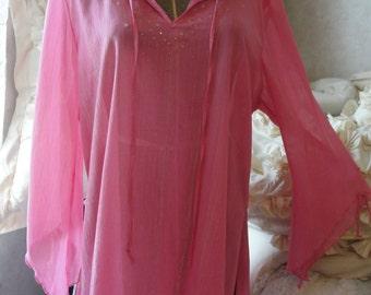 Gypsy boho bohemian mori girl sheer top tunic, coverup or lingerie