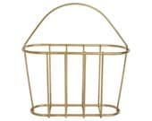 Vintage 1970's Wire Minimalist Magazine Rack w/ Handle Hollywood Regency Danish Modern Newspaper Basket Avail in Chrome or Gold