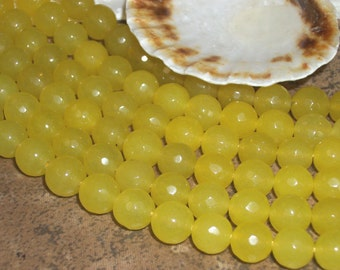 Yellow Jade faceted gemstone -(8 mm faceted round beads)- full strand