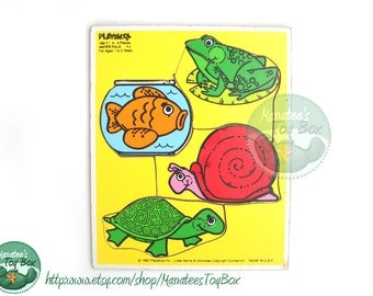Vintage Playskool Wooden Puzzle: Water Pals for Ages 1 to 3 years