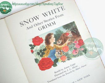 1950s Grimm's Fairy Tales Book Snow White, Rose Red, Rose White and The Musicians of Bremen