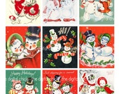 Digital Clipart, instant download, Vintage Christmas Cards--snowman, snowmen, couples, candy cane--8.5 by 11--Digital Collage Sheet  1344