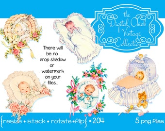 Vintage Victorian Baby Clipart, Clip Art--instant digital download--roses lace flowers ribbon baby babies bassinet cradle 5 PNG files 204