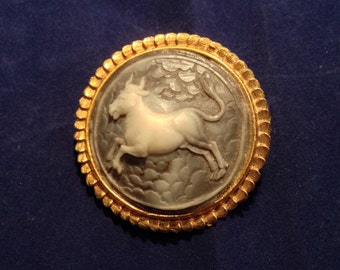 Vintage Gold Cameo Bull Brooch 1.75 Inch Diameter Previously Twenty Five Dollars ON SALE