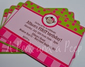 Printed Pink and Green Girl Monkey Personalized Birthday or Baby Shower Invitations with Envelopes
