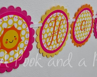 You are my Sunshine Personalized Happy Birthday Banner in Pink, Orange, and Yellow