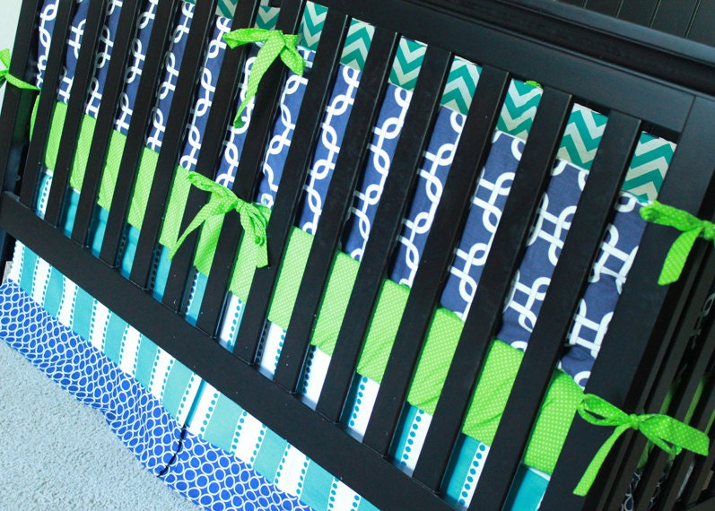 Boy crib bedding navy turquoise and lime green by - Navy blue and green bedding ...