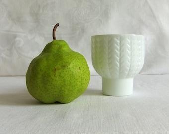 Vintage White Glass Chevron Cup - Tulip Shape, Small Vase, Toothbrush Holder, Cottage, Bedside Table Glass, Japan, Milk Glass, Zig Zag