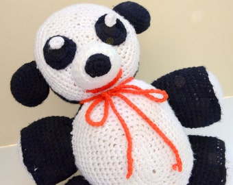 panda, kitted doll,black and white,yarn,felt,vintage doll, vintage toy,soft, clean and fresh, knit toy, crochet toy