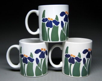 vintage NINA / CHD 1983 iris mugs pottery flowers 1980's
