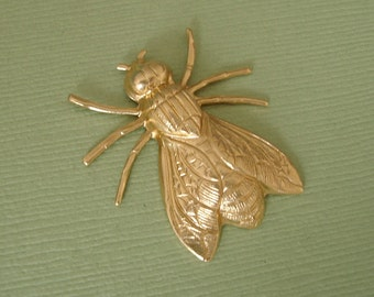 2-Large Fly Bug Insect Brass Stamping Ornament Pendant Jewelry Findings.