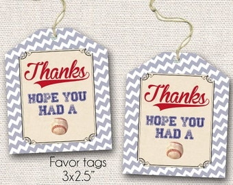 Vintage Baseball Favor Tags - Printable - Instant Download