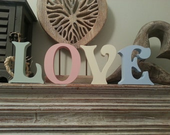 Set of 4 - Hand-painted Freestanding Letters, LOVE - Photo Props - 16cm