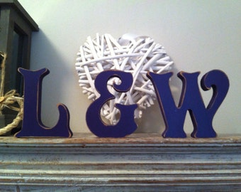 Wooden Wedding Letters, Free-standing, Set of 3 - Photo Props - 25cm