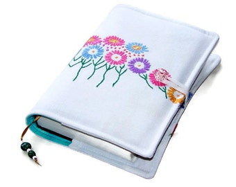 Handmade Book or Bible Cover in Vintage Embroidery RAINBOW DAISIES, UK Seller, Suitable for Hardback or Paperback