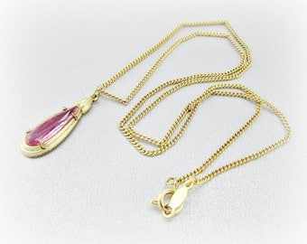 Vintage Pink Crystal Necklace, Crystal Teardrop Necklace, Delicate Gold Chain Necklace, Pendant Necklace, 1970s Retro Romantic Jewelry