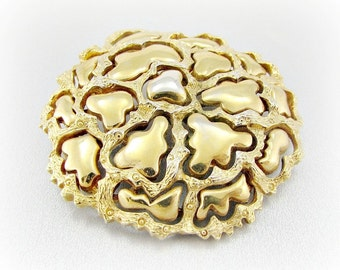 Vintage Gold Flower Brooch Pin, Designer ROGET Brooch, Large Gold Brooch, 1950s Costume Jewelry, Modernist Abstract Brutalist Jewelry