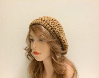 Crochet Beret Hat - WARM BROWN
