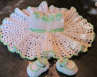 Handmade Baby Girl Crochet Dress and Booties Set with Flowers and Leafs (3-12 month)