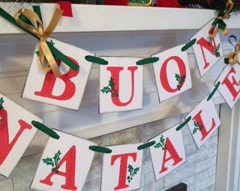 Buon Natale Banner- Red Green Gold Italian Christmas Garland - Vintage Inspired Italian Christmas Decorations- Christmas Banners - Christmas