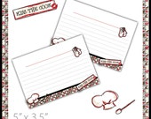 Recipe Cards . PRINTABLE . Kiss the Cook . INSTANT Download