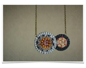 Felt Statement Necklace ø Tribal Geometric Hand Embroidered ø LoftFullOfGoodies