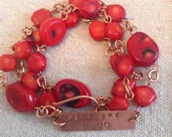 Red Coral & Copper 'sing out LOUD' triple Wrap Bracelet // Necklace // Message Jewelry