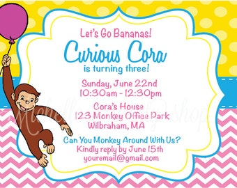 SET OF 12, Curious George Invitations with envelopes