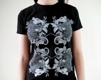 Entangled Possum and Stinging Nettle Black T-Shirt
