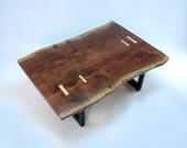 Aurora Minimalist Coffee Table -- Walnut Slab with Maple Butterflys