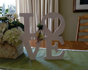 LOVE Stacked Wooden Letters - Unpainted
