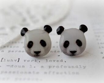 Resin Acrylic Panda Bear Stud Earrings