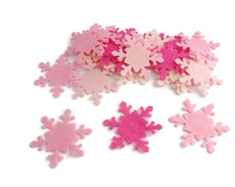 Christmas snowflake frozen die cut felt shapes felt snowflakes winter christmas felt pink set of 30
