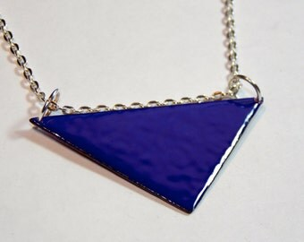 Long Retro Mod Geometric Necklace in Cobalt Blue Enamel - Custom Colors Available!