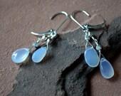 Blue Chalcedony Earrings, Large Teardrop Gemstones, Sterling Silver