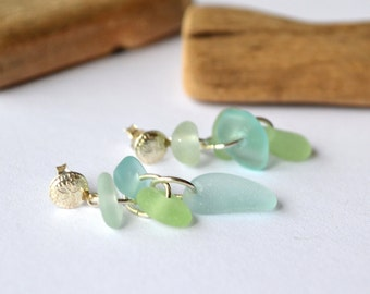Sand dollar stud earrings with seafoam blue and green sea glass