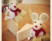 Hand Knitted Christmas Mice