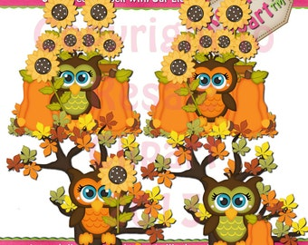 lil Fall Owls 2 Clipart (Digital Download)