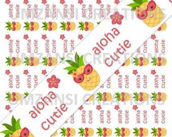 "DIY ""M2MG Aloha Sunshine Pineapple Cutie "" Printable 7/8 Ribbon Iron On Transfer (JPeg Digital Image)"