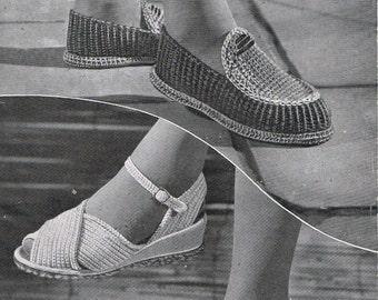 T237 Crochet Sandals Pattern Vintage Moccasins FAB Instant Download
