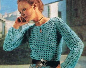 Elegant long sleeved top crochet pattern (T242) Instant Download