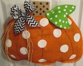 Orange Burlap Pumpkin Door Hanger Fall Burlap
