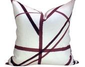 Kelly Wearstler Channels pillow cover in Plum/Oatmeal